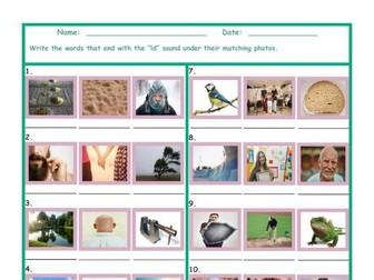Phonics Final Consonant Cluster LD Photo Worksheet