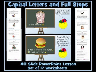 Full Stops and Capital Letters - PowerPoint Lesson and Worksheets