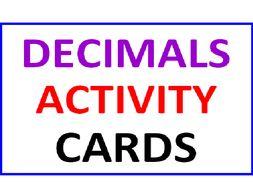 Decimals Activity Cards & Lesson Plan
