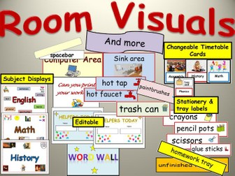 Room Visuals: Subject Area Displays, Environment labels, Timetable cards, General Displays
