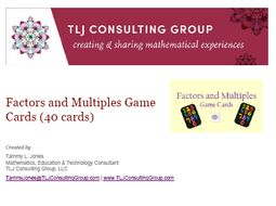 Factors & Multiples Game Cards (40 cards)