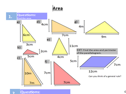 Areas and perimeters of shapes rectangles, triangles and quadrilaterals