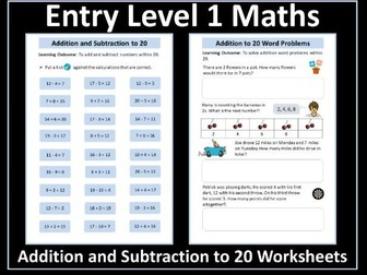 Entry Level Addition and Subtraction to 20 Worksheets