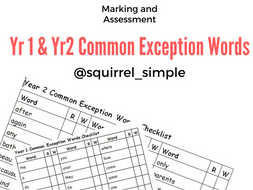 Year 1 and 2 Common Exception Word Checklist Assessment record