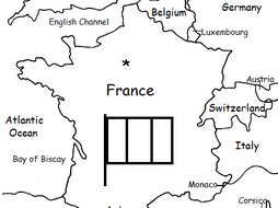 France - Printable handout with map and flag