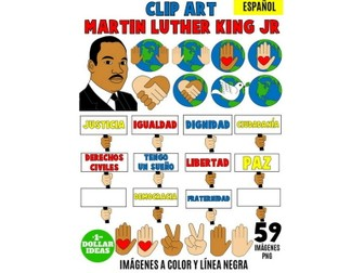 MARTIN LUTHER KING JR CLIPART | SPANISH |MARTIN LUTHER KING ACTIVITIES | MLK|59