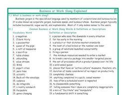 Business or Work Slang Explanation-Definitions