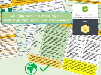GCSE AQA 9-1 : Nigeria Case Study, Economic World, Knowledge Organiser and Revision Summaries.