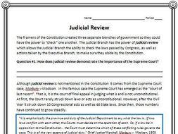 Judicial Review Reading (Civics/American Government)