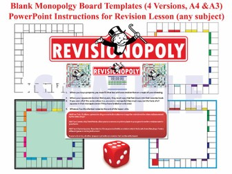 Revisionopoly (Monopoly-style Board Game Templates) with PPT Instructions & AfL Tasks! [£1 Sale]