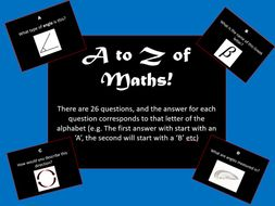 A to Z of Maths - End of Term Quiz