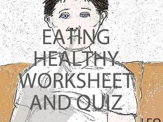 Eating Healthy Worksheet and Quiz (US)