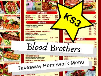 Blood Brothers KS3 Takeaway Homework Menu