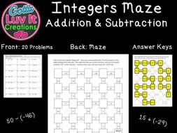 Integers Addition & Subtraction Mixed Practice - 2 Mazes