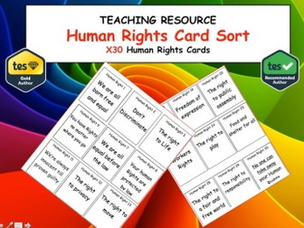 Human Rights Card Sort x30 Citizenship and PSHE