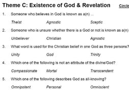 Existence of God & Revelation (Theme C: AQA GCSE Religious Studies) - multiple choice test