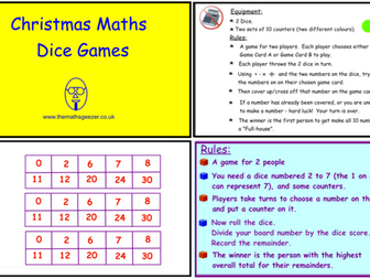 Christmas Maths Dice Games (ppt version)