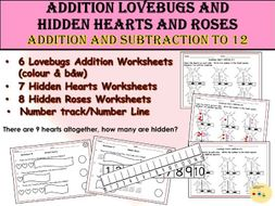 St Valentine Addition and Subtraction Worksheets - Hearts and Roses