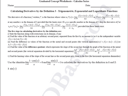 Calculus Worksheet - Derivatives by Definition 3 - Trigonometric, Exponential & Logarithmic Fcns.