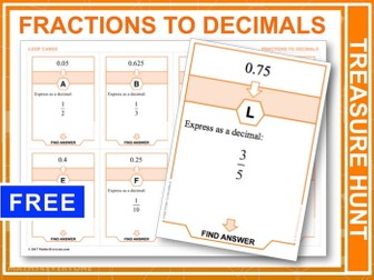 Fractions to Decimals (Treasure Hunt)