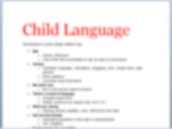 Revision booklet- English Language- Spoken Child Language