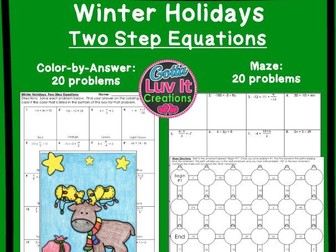 Solving Equations Two Step Equations Winter Bundle - Maze & Color by Number