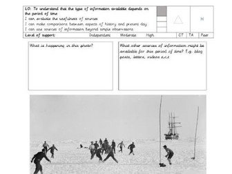 Shackleton historical inquiry (using sources) Extreme Environments