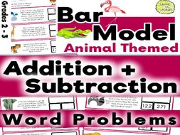 Problem Solving: Addition and Subtraction Bar Model Word Problems Animal Themed