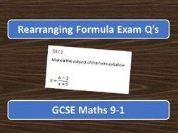 GCSE Maths 9-1 Rearranging Formula Exam Q's