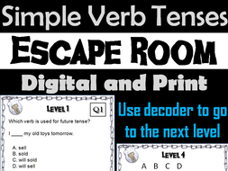 Simple Verb Tenses Activity: Escape Room Grammar