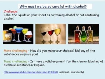 Alcohol: PSHE lesson