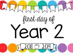 First Day Of School Signs Editable Rainbow Pop By