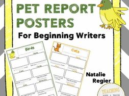 Pet Report Posters: Tiered Templates for Beginning  Writers