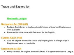 Henry VII - Trade and Exploration