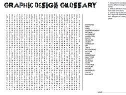 Graphic Design Cover Lesson word search key design terms and self promo logo