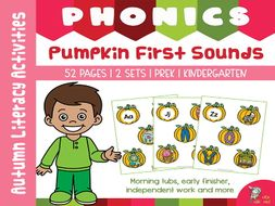 Fall Phonics Activities Pumpkin Beginning Sounds Match | Fall Centers