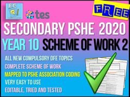 Year 10 PSHE Scheme of Work 2 - Living Responsibly