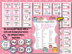 56 classroom labels with cute owl design PLUS ABC alphabet Header Cards