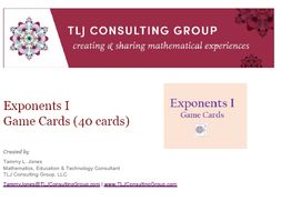 Exponents I Game Cards (40 Cards)
