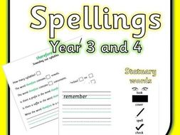 Year 3 and 4 Spelling Worksheets (Statuary Words)