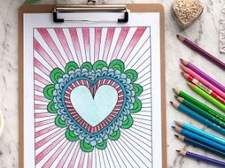 "Heart Coloring Page | Printable 8.5x11"" PDF coloring page for Valentine's Day or Mother's Day"