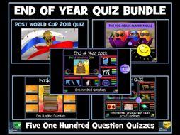 Quiz Bundle: 5 Quizzes - Ideal  End of Year Quiz / End of Term Quiz