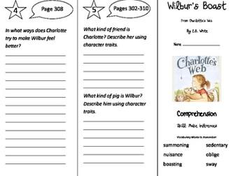 Charlotte's Web Wilbur's Boast Trifold - Storytown 3rd Grade Unit 6 Week 1
