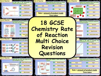 £1 ONLY! KS4 AQA GCSE Chemistry (Science) Rate of Reaction Multiple Choice Revision Questions