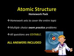 Atomic Structure HOMEWORK w/ ANSWERS, Multiple choice Exam Practice,  Practice Quiz, Chemistry