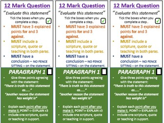 AQA Religious Studies - Exam Question Structure Strips