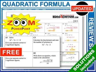 GCSE Revision (Quadratic Formula)