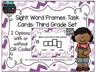 Sight Word Frames Task Cards: Third Grade Set