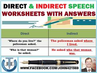 DIRECT AND INDIRECT SPEECH WORKSHEETS WITH ANSWERS