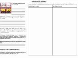 Worksheet to support the lecture: 6 Resistance or Rebellion (Or, what the heck is happening in Bosto
